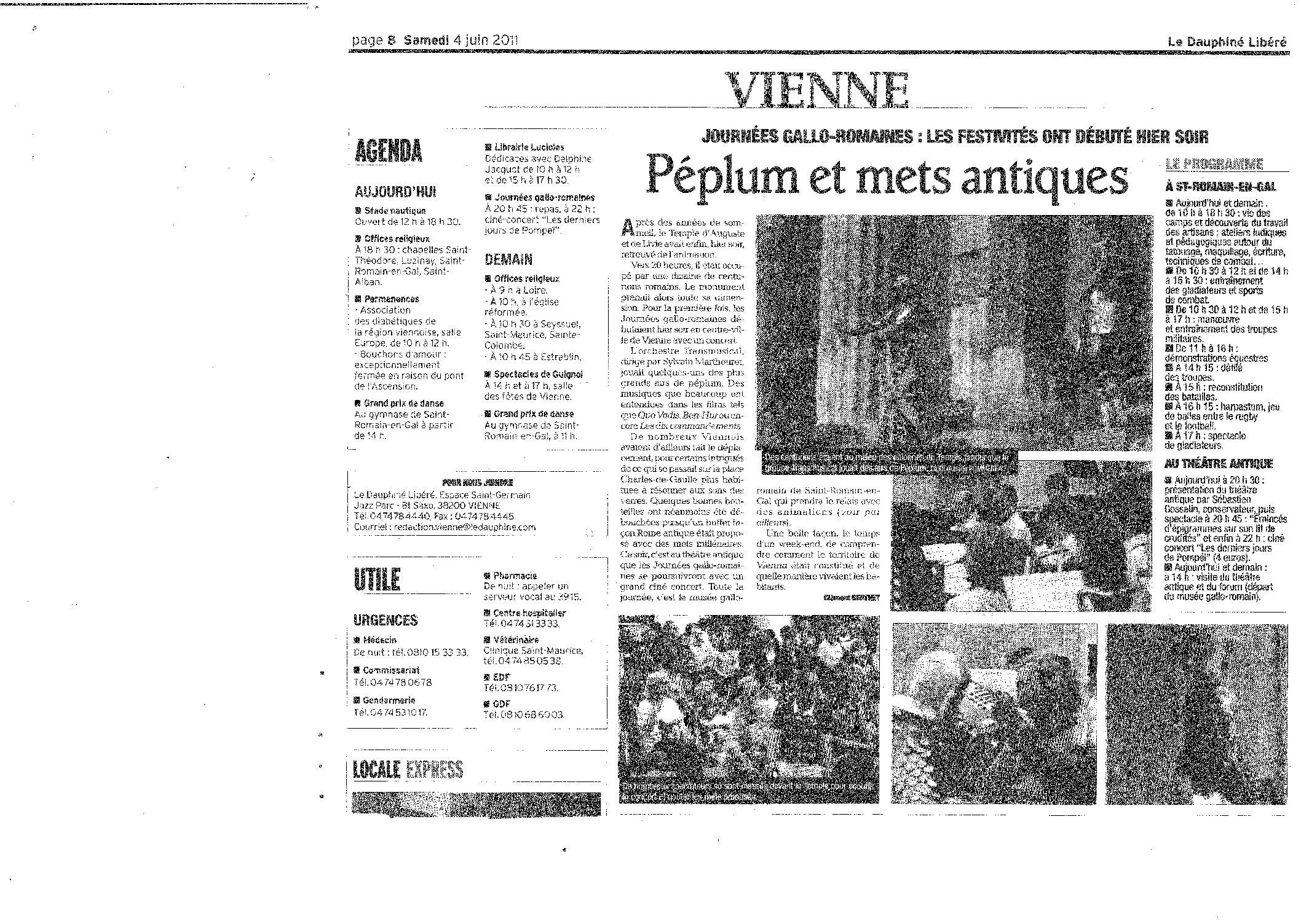 Le Dauphiné Libéré (samedi 4 juin 2011. Page 8)